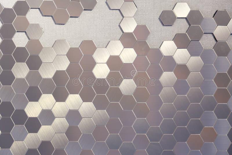 Immagine di riserva del favo del metallo, esagono, fondo astratto del metallo immagine stock