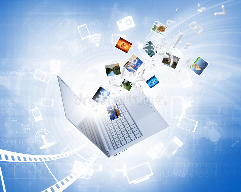 Immagine di sfondo con il computer portatile immagini stock