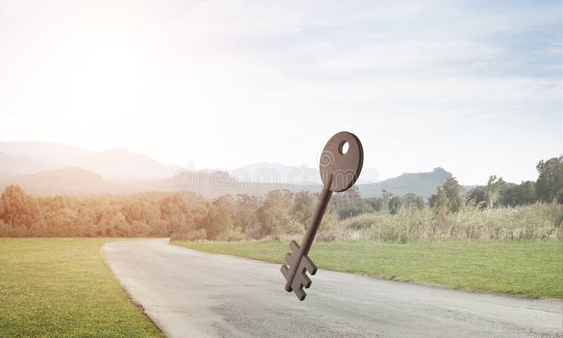Immagine di sfondo concettuale del segno chiave concreto sulla strada asfaltata illustrazione di stock