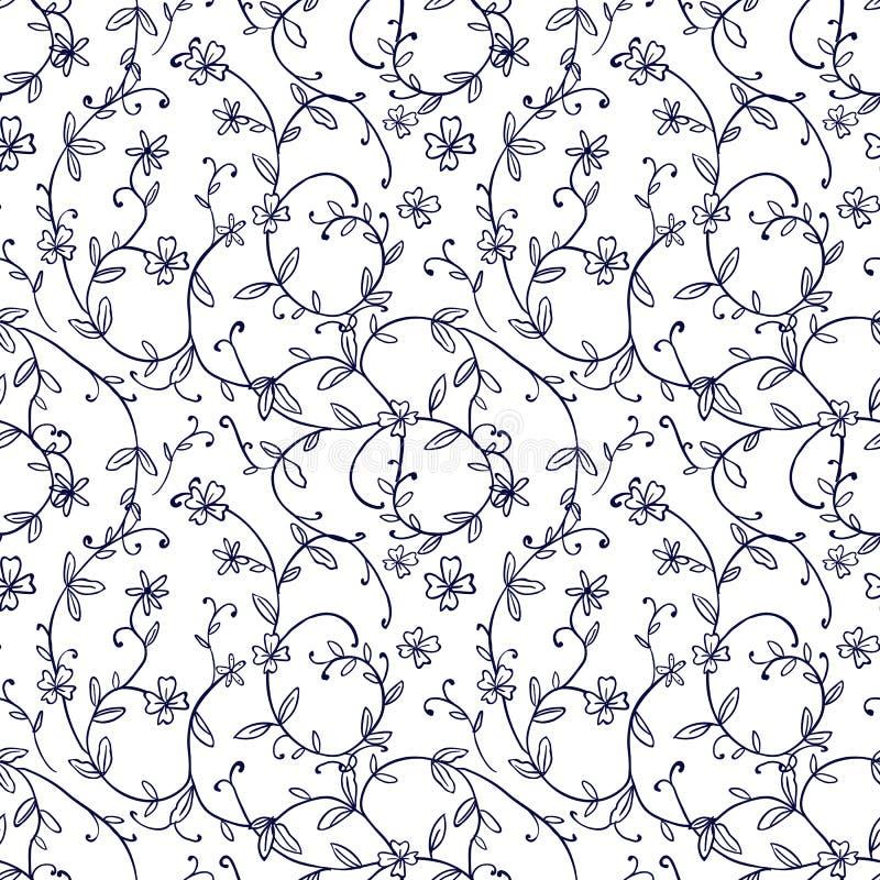 Immagine di sfondo senza cuciture del modello d'annata della foglia del fiore della vite di spirale della natura illustrazione vettoriale