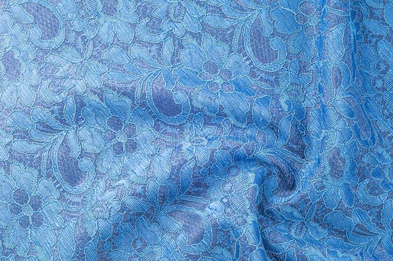 Immagine di sfondo di struttura, pizzo di seta blu Doppio ribb decorato del pizzo fotografia stock