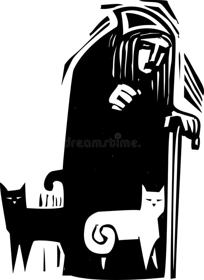 Signora del gatto con i gatti royalty illustrazione gratis