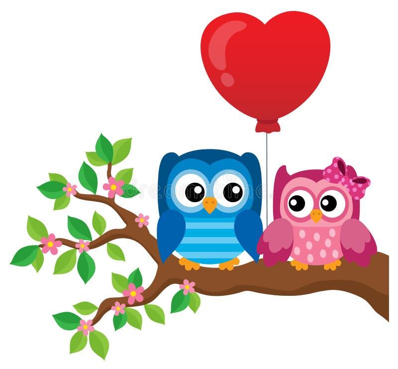 Immagine 1 di tema dei gufi del biglietto di S. Valentino illustrazione di stock