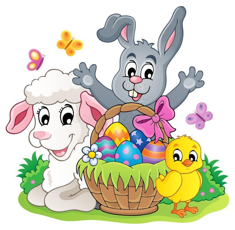 Immagine 5 di tema del canestro di Pasqua illustrazione vettoriale