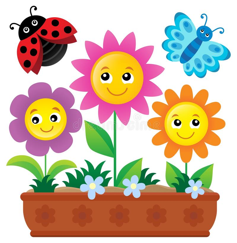 Immagine 1 di tema del contenitore di fiore illustrazione vettoriale