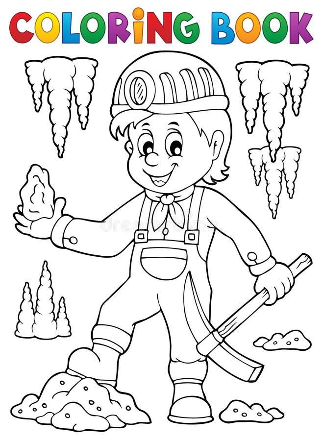 Immagine 1 di tema del minatore del libro da colorare illustrazione vettoriale