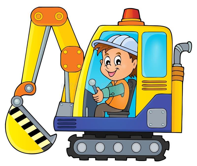 Immagine 1 di tema dell'operatore dell'escavatore illustrazione vettoriale