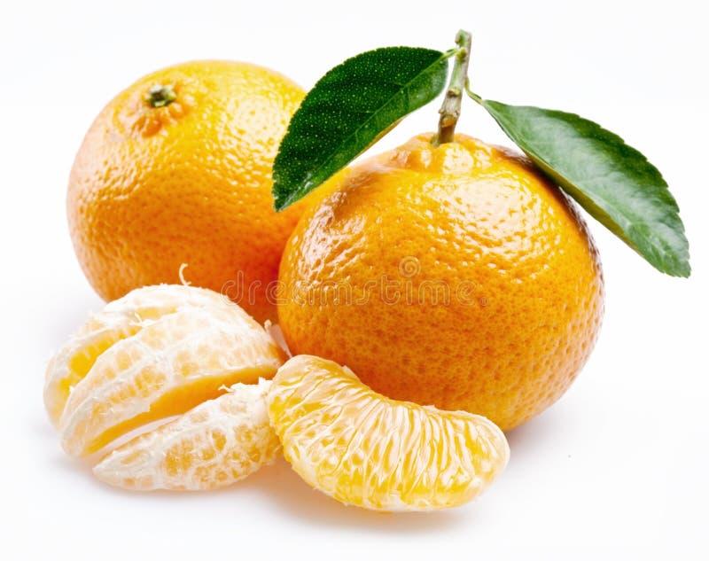 Immagine di un mandarino maturo con i fogli immagine stock