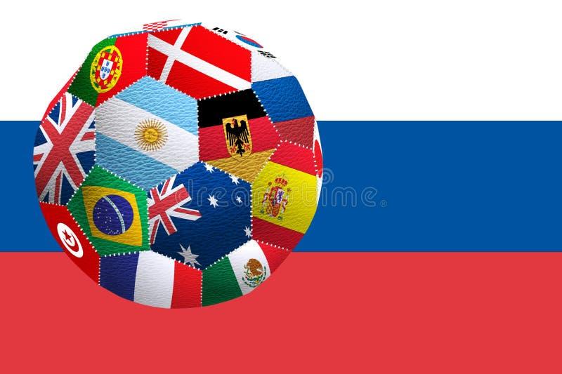 immagine di un pallone da calcio dalle bandiere dei paesi che partecipano alla coppa del Mondo illustrazione di stock