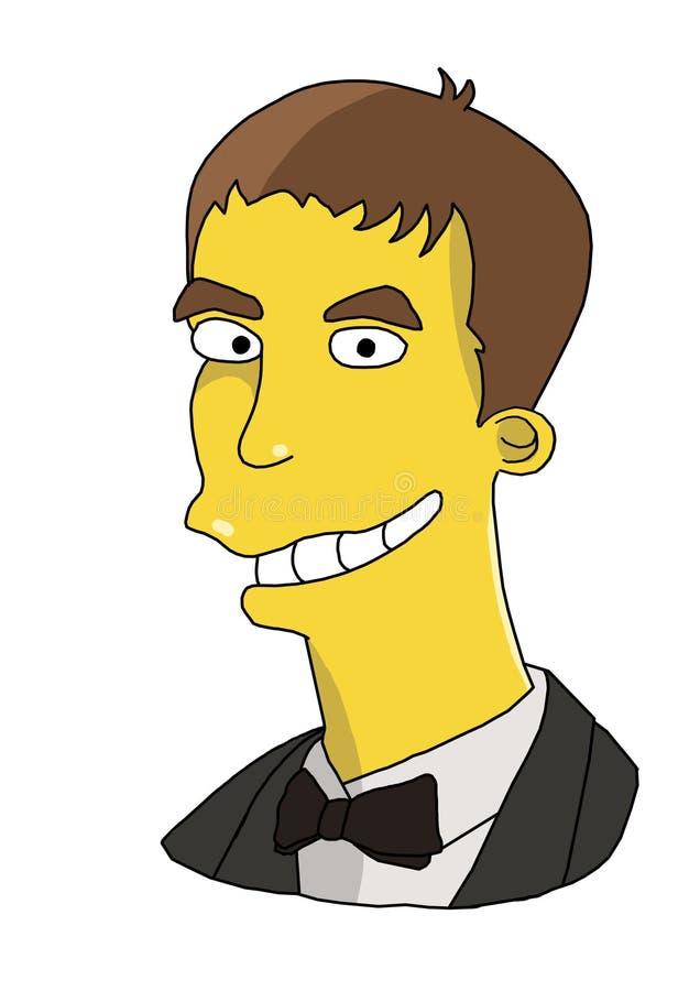 Immagine di un tipo, un giovane, un uomo, pelle gialla, ` s, fumetto, ritratto stilizzato, ritratto divertente, fumetto dei bambi fotografia stock