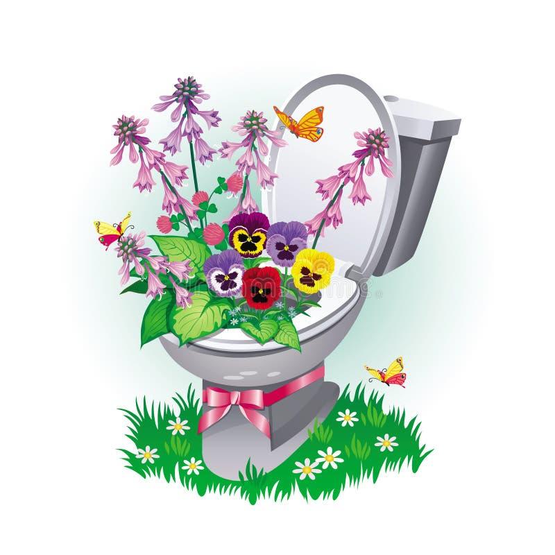 Immagine di un vaso da fiori sotto forma di ciotola di toilette con un mazzo illustrazione di stock