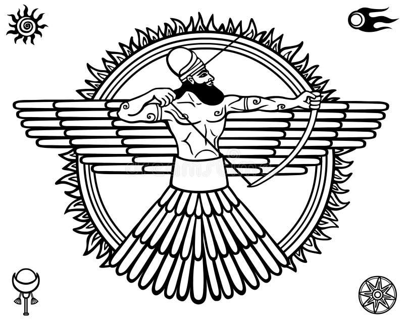 Immagine di una divinità antica Insieme dei simboli esoterici royalty illustrazione gratis