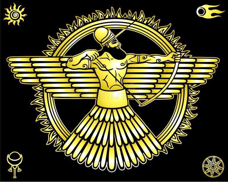 Immagine di una divinità antica Insieme dei simboli esoterici illustrazione di stock