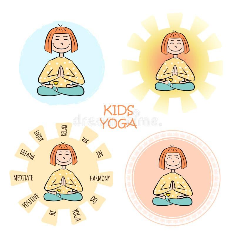 Immagine di una ragazza divertente del fumetto che si siede sulla posizione di loto di yoga royalty illustrazione gratis