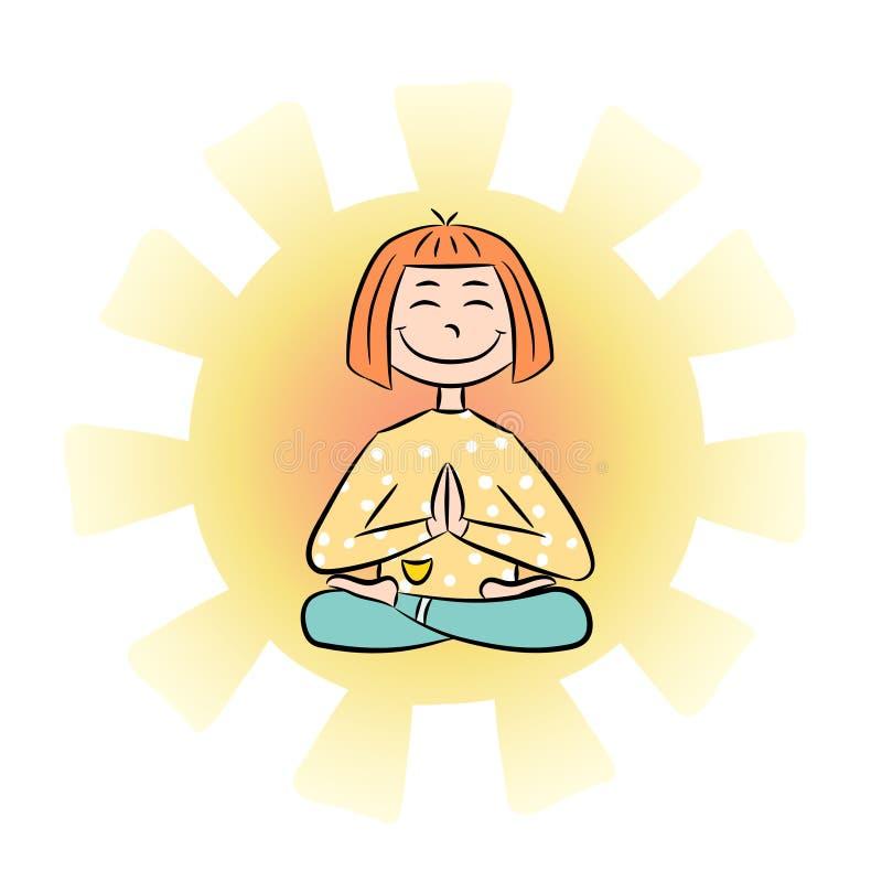 Immagine di una ragazza divertente del fumetto che si siede sulla posizione di loto di yoga illustrazione di stock