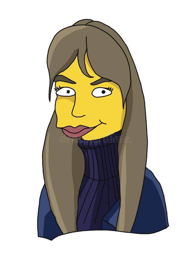 Immagine di una ragazza, pelle gialla, ` s, ritratto animato e stilizzato, ritratto divertente, fumetto dei bambini fotografia stock