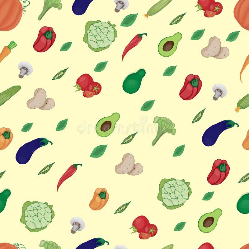 Immagine di varie verdure e di verdi su un fondo beige, di verdure colorate multi luminose royalty illustrazione gratis