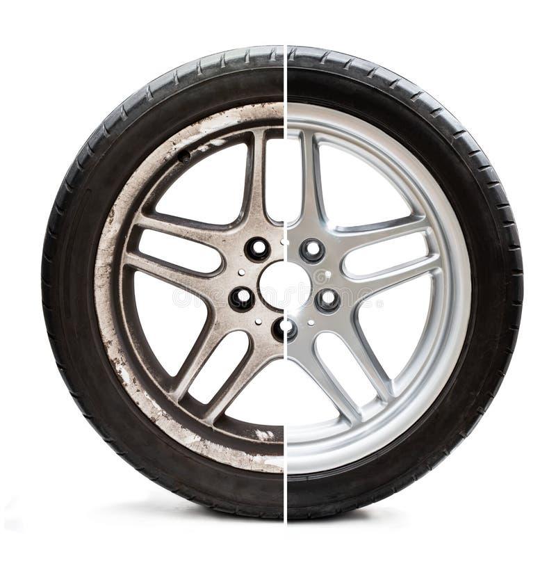 Immagine di vecchia rappresentazione ristrutturata del pneumatico prima e dopo il concetto di circostanze di ripristino o di migl immagine stock