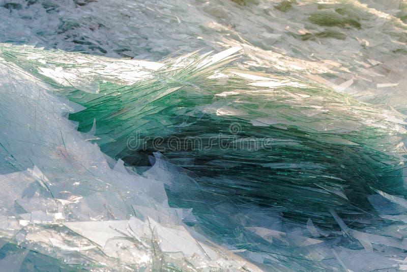 Immagine di vetro residuo per il riciclaggio nell'industria, recy di vetro rotto immagine stock