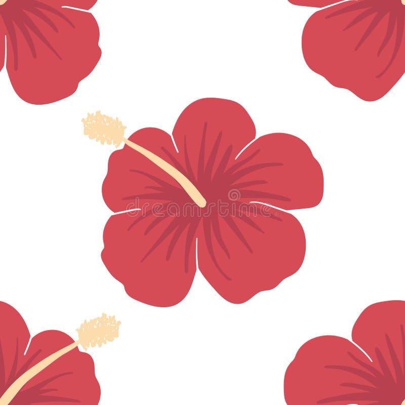 Immagine di vettore dei fiori rossi dell'ibisco Modello senza cuciture su un fondo leggero Illustrazione tropicale di estate illustrazione di stock