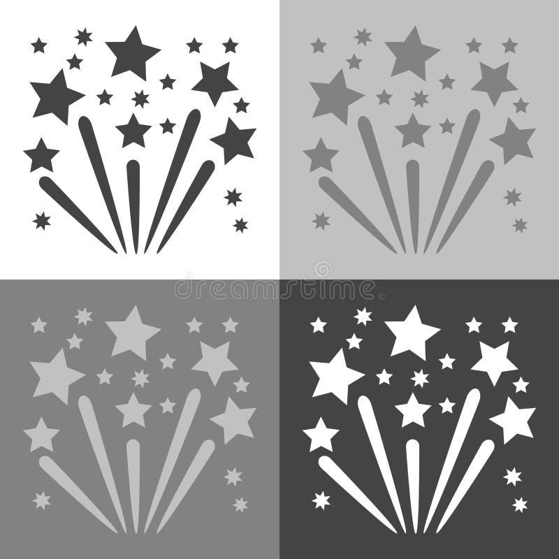 Immagine di vettore dei fuochi d'artificio Fuochi d'artificio celebratori stabiliti dell'icona sul whi royalty illustrazione gratis