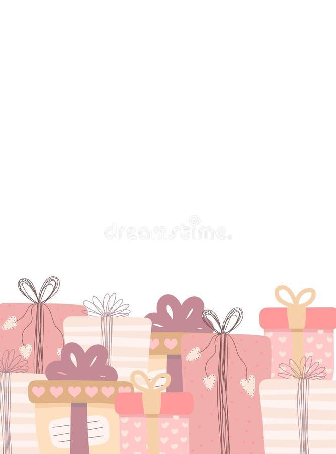 Immagine di vettore dei regali Modello per la carta di amore Illustrazione per il San Valentino, amanti, stampe, vestiti, tessuti royalty illustrazione gratis