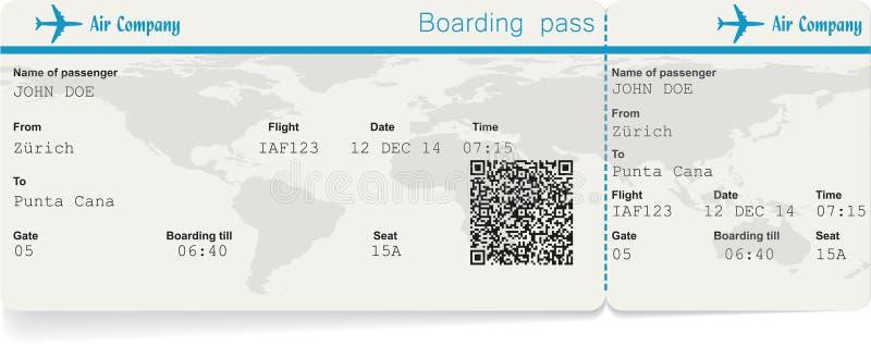 Immagine di vettore del biglietto del passaggio di imbarco di linea aerea illustrazione vettoriale