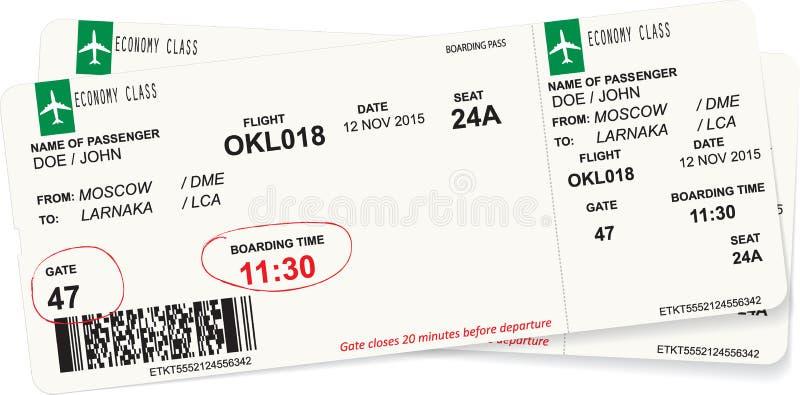 Immagine di vettore del biglietto del passaggio di imbarco di linea aerea illustrazione di stock