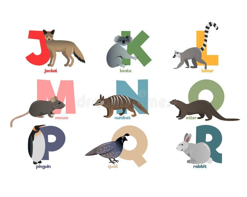 Immagine di vettore dell'alfabeto con gli animali illustrazione di stock