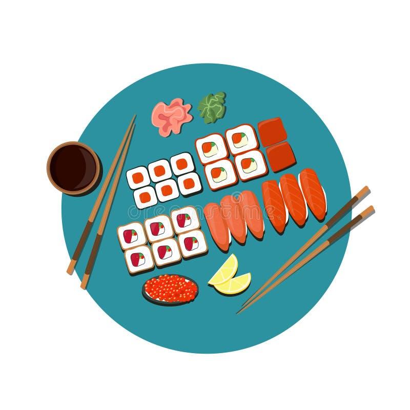 Immagine di vettore dell'insieme dei sushi illustrazione vettoriale