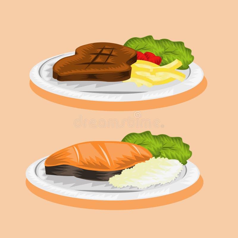 Immagine di vettore della bistecca e del pesce della carne fotografia stock