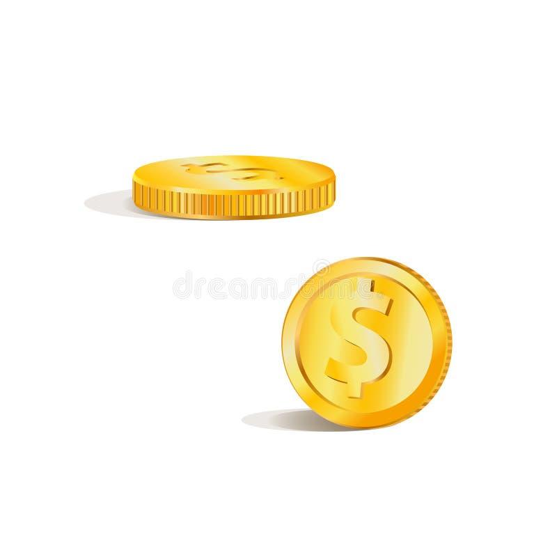 Immagine di vettore di una moneta di oro Colore giallo, oggetto isolato illustrazione vettoriale