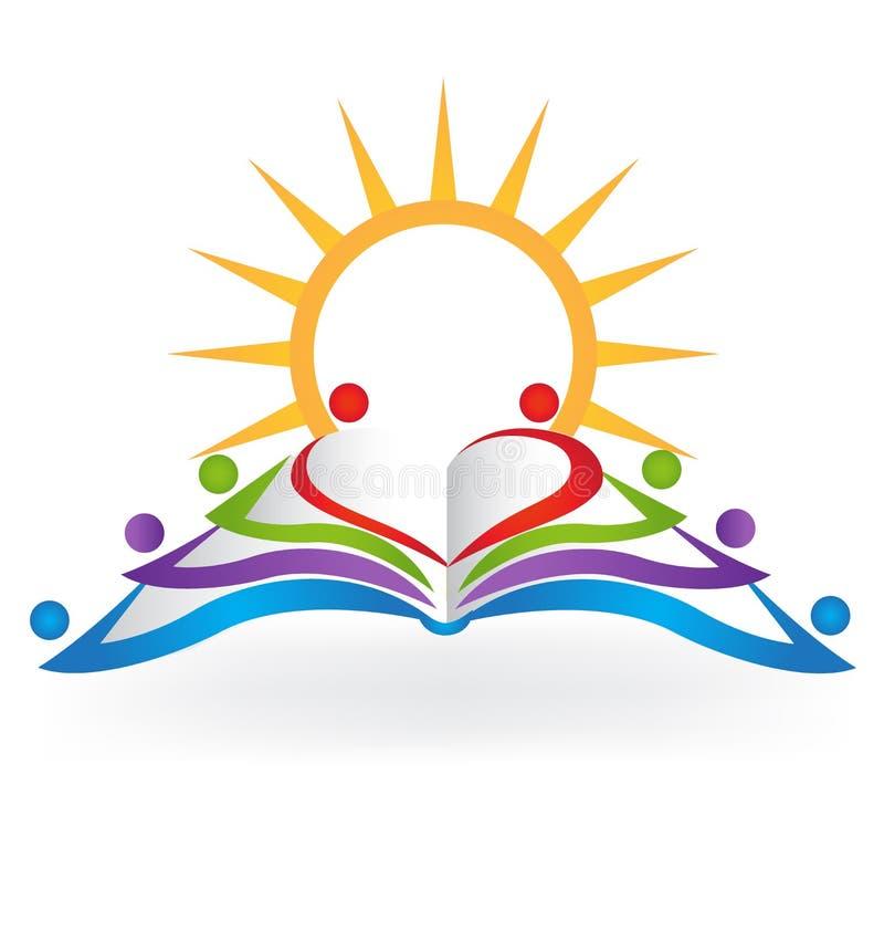 Immagine di vettore di logo di istruzione di lavoro di squadra del sole del libro royalty illustrazione gratis