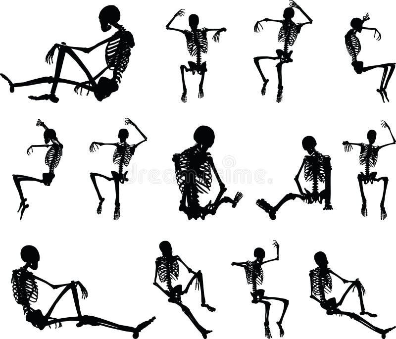 Immagine di vettore - siluetta di scheletro nella seduta nella posa della gabbia sul fondo bianco illustrazione vettoriale