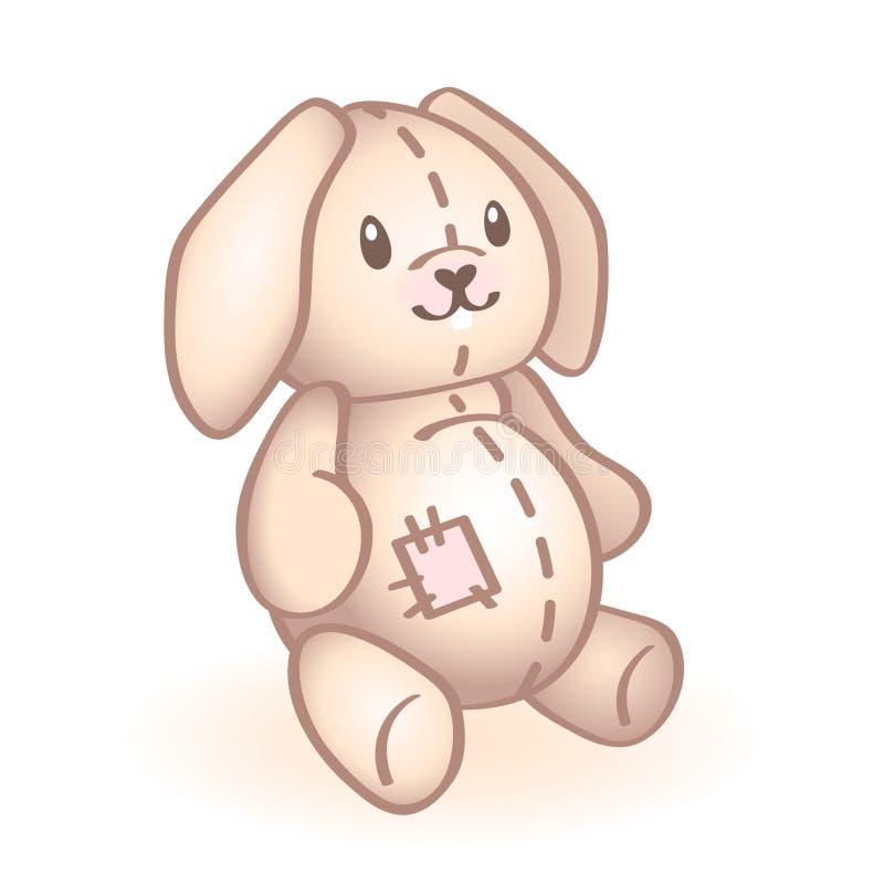 Immagine di vettore di un coniglio della peluche con la toppa rosa Giocattolo neonato del bambino Icona infantile di vettore Elem illustrazione di stock