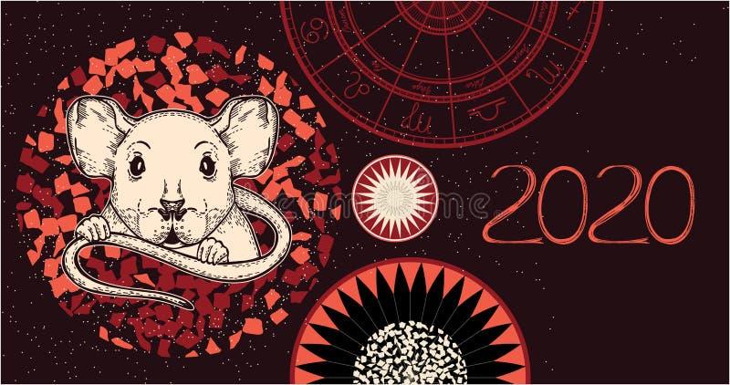 Immagine di vettore di un ratto Il simbolo di 2020 illustrazione vettoriale