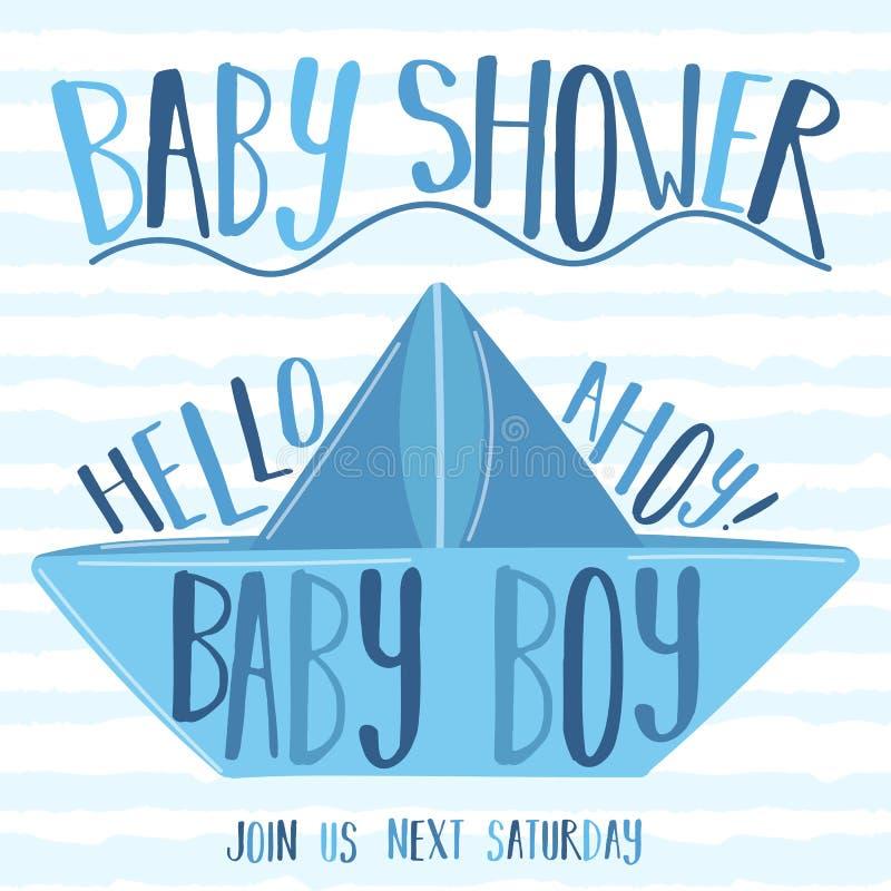 Immagine di vettore di una barca di carta con l'iscrizione Babe Shower ed Ahoy su fondo blu a strisce Illustrazione sul tema f de illustrazione di stock