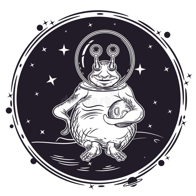 Immagine di vettore di uno straniero con un pianeta in sua mano Emblema rotondo illustrazione di stock