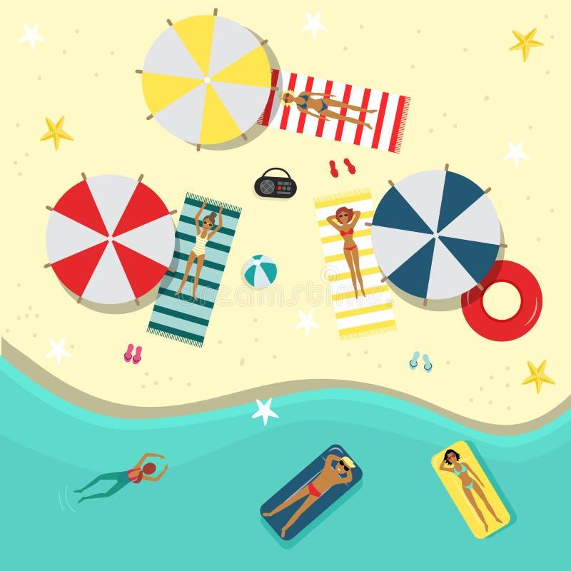 Immagine di vista superiore della gente sulla spiaggia illustrazione di stock