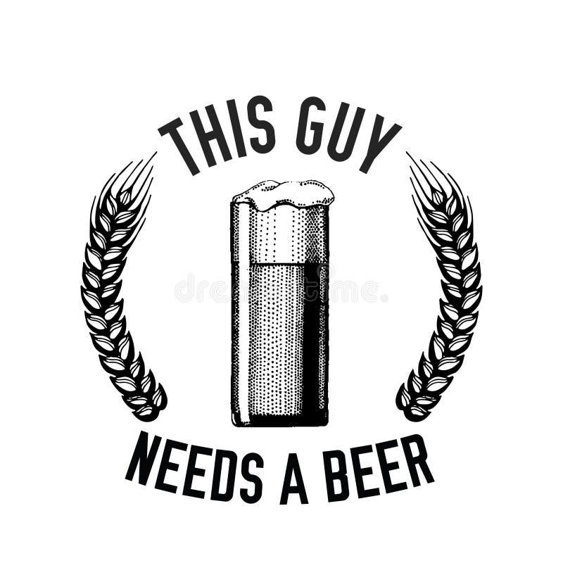 Immagine disegnata a mano di vettore di citazione della birra con la citazione circa birra, lager, birra di malto, birra inglese royalty illustrazione gratis