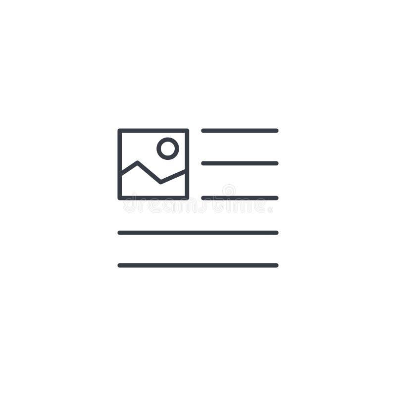 Immagine, immagine e contenuto del testo, linea sottile icona dell'articolo di stampa Simbolo lineare di vettore illustrazione di stock
