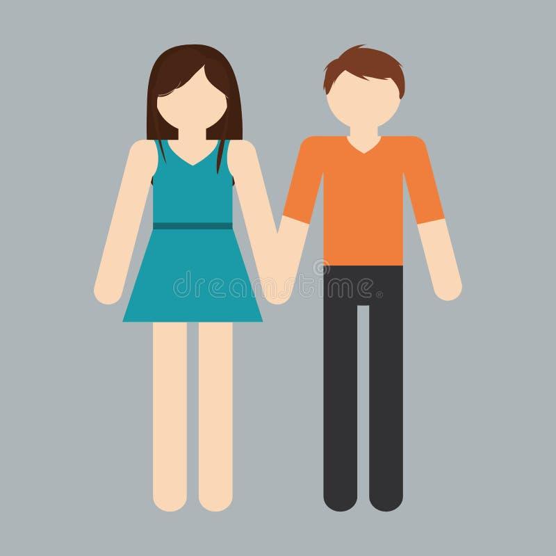 immagine eterosessuale dell'icona delle coppie illustrazione vettoriale