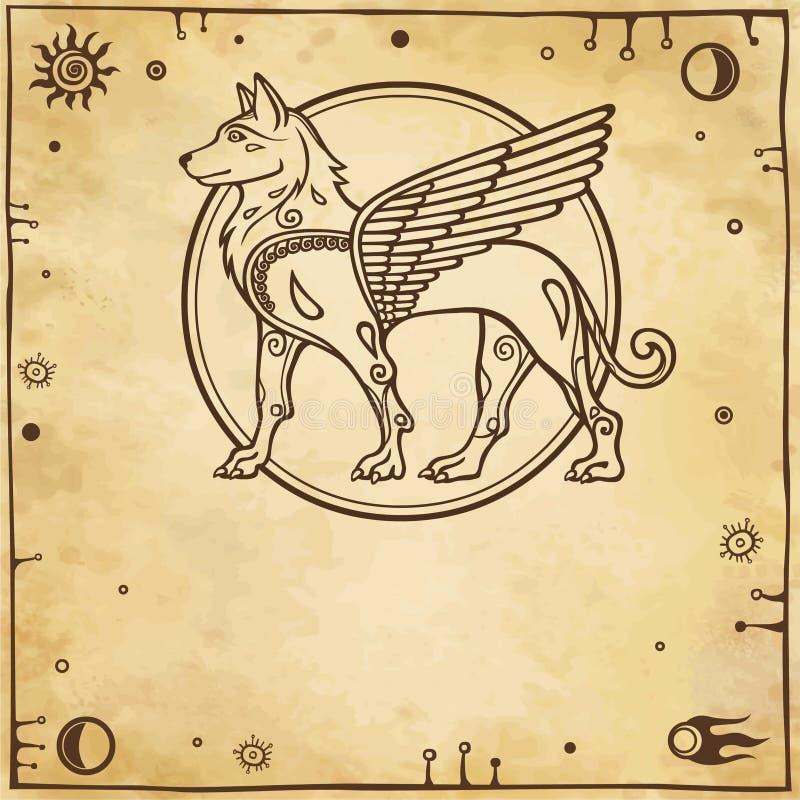 Immagine fantastica di un cane alato, carattere mitologico, dio pagano illustrazione di stock