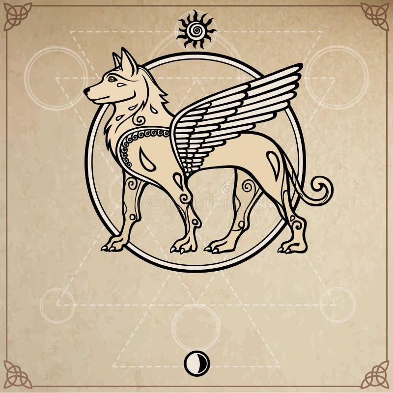Immagine fantastica di un cane alato, carattere mitologico, dio pagano illustrazione vettoriale