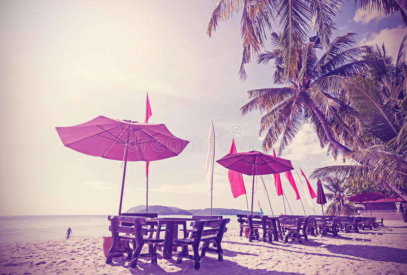 Immagine filtrata retro annata di una spiaggia fotografia stock