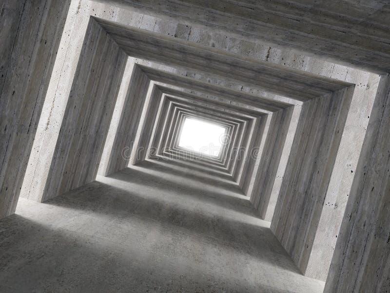 Immagine fine 3d del tunnel concreto e della luce laterale immagine stock libera da diritti