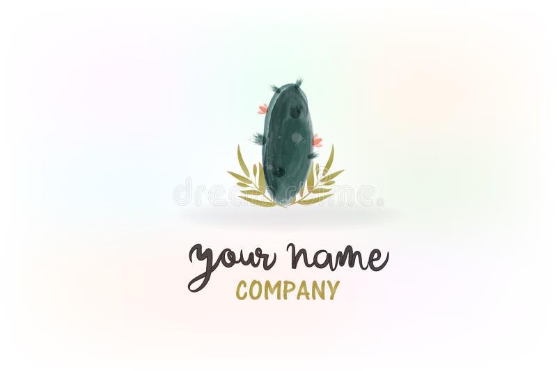 Immagine floreale di vettore di logo dell'acquerello del cactus royalty illustrazione gratis