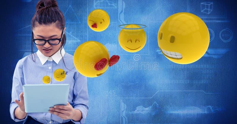 Immagine generata Digital della donna che per mezzo del computer della compressa con i emojis che volano contro i grafici di tecn royalty illustrazione gratis