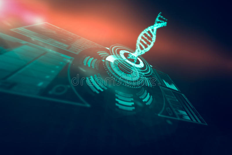 Immagine generata Digital della manopola illuminata del volume con il filo 3d del DNA fotografie stock