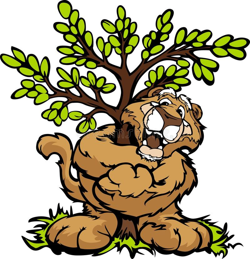 Immagine grafica di un puma felice che abbraccia un albero royalty illustrazione gratis